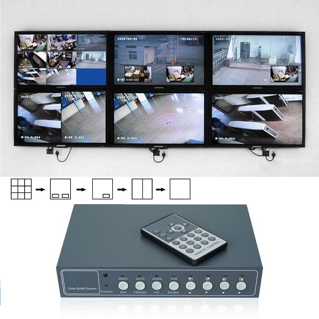 Professional 4 Channel CCTV Color Quad Processor 8Ch NTSC PAL HD Screen Splitter